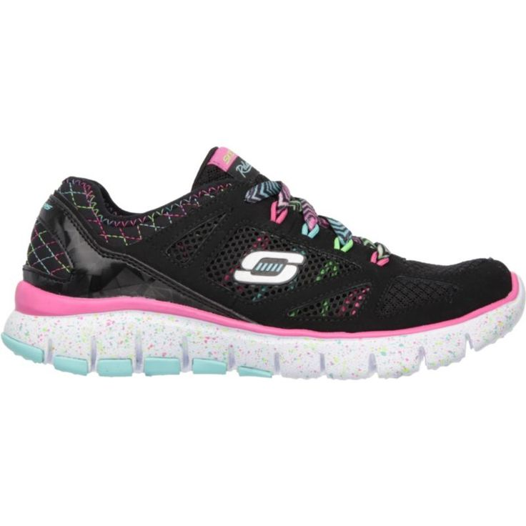 Skechers Kids' Grade School S Flex Fashion Play Running Shoes, Girl's, Size: Small, Black