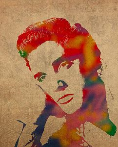 Смешанные Медиа - Элвис Пресли Акварельный портрет на изношенных проблемных дизайн холст шлагбаум