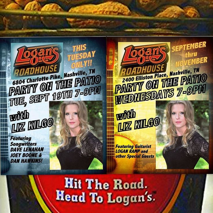 Back to Back shows this week at 2 Nashville Logan's Roadhouse locations!  Tue - Sept 19th 6804 Charlotte Pike  Guests Dave Lenahan Joey Boone and Dan Hawkins! Wed - 2400 Elliston Place Guests: Billy Lee Robin Ruddy and Dave Lenahan! FREE ADMISSIONGREAT FOOD FULL BARCHILDREN WELCOME #partyonthepatio #logansroadhouse #singersongwriter #tuesday #wednesday #original #acoustic #livemusic #lizkilgo #lizkilgomusic #billylee #robinruddy #davelenahan #danhawkins #bearhugs #country #music #countryrock…