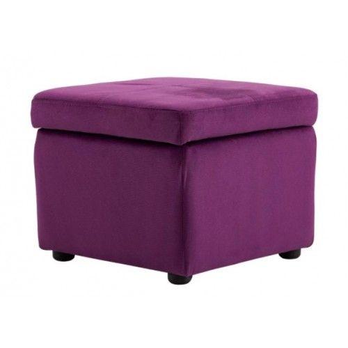 Purple Fabric Square Storage Ottoman Footstool Square Storage
