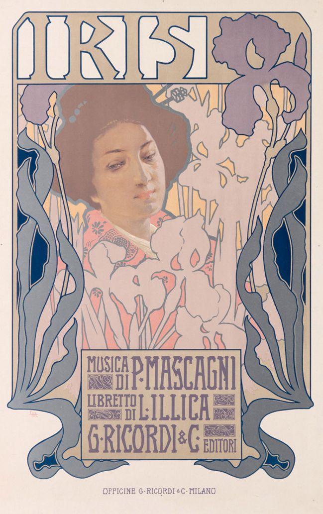 Leopoldo Metlicovitz (1868-1944, Italy), 1899,  Opera Iris, Music by Pietro Mascagni,  Printed by G. Ricordi & C., Milan, 75x57 1/4 cm.  #Stile #Liberty #Italian #ArtNouveau