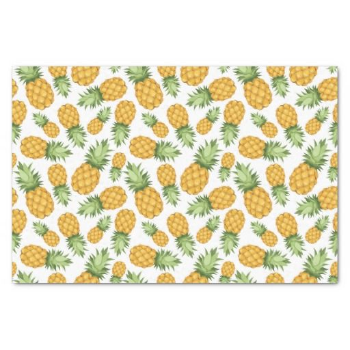 "Cartoon Pineapple Pattern 10"" X 15"" Tissue Paper"