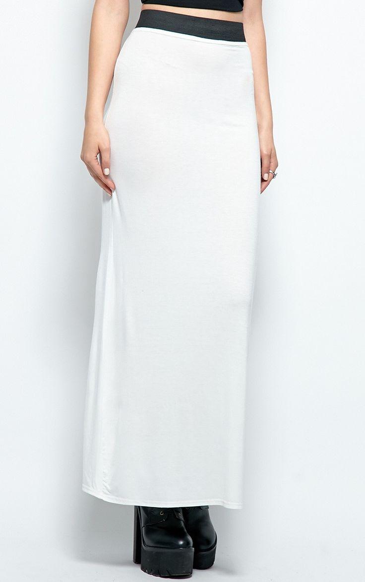 Kelsey White Jersey Maxi Skirt - skirt -