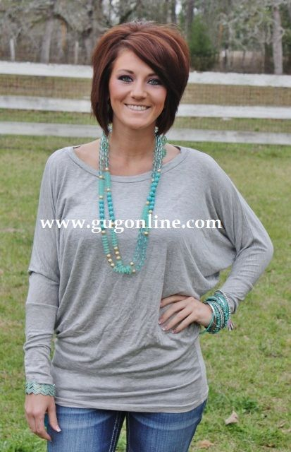 Giddy Up Glamour  $23.95  A Spot To Snuggle Heather Grey Slouchy Top