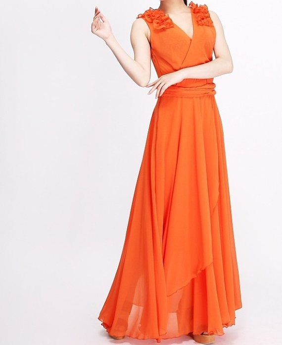 Orange bridesmaid dress orange and pink wedding pinterest for Pink and orange wedding dresses