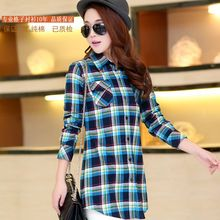 2017 Hot Sale Autumn Winter Lady Female Casual Cotton Lapel Long-Sleeve Plaid Shirt Women Pocket Slim Outerwear Long Blouse Tops //Price: $US $11.03 & FREE Shipping //     #hashtag2