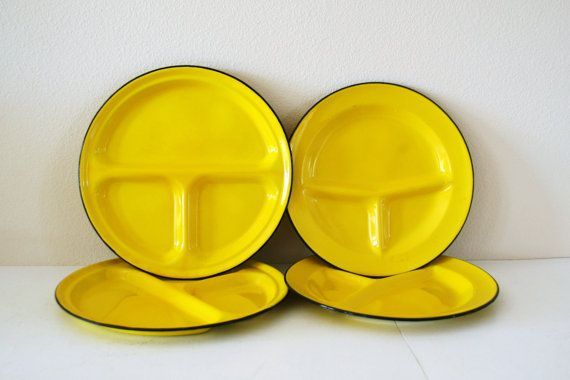Vintage yellow enamel plates, $18  Perfect! i don't like my food to touch..
