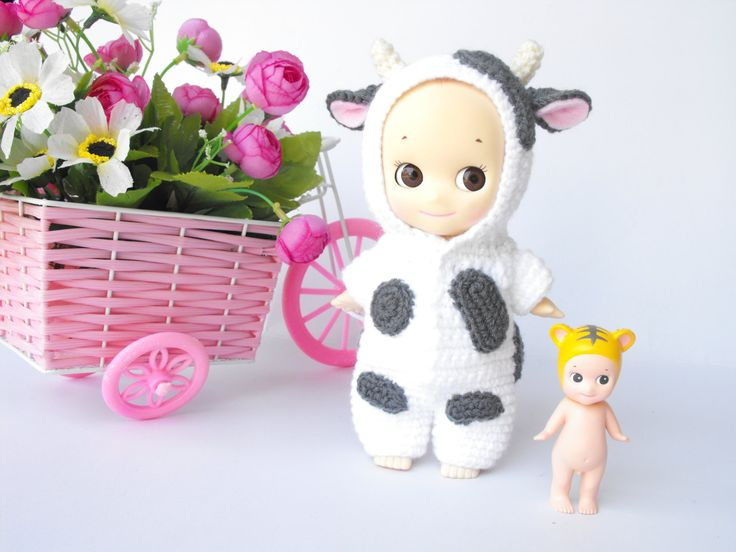 Milk cow costume for sonny angel 7 inch by CrochetBaoBao on Etsy