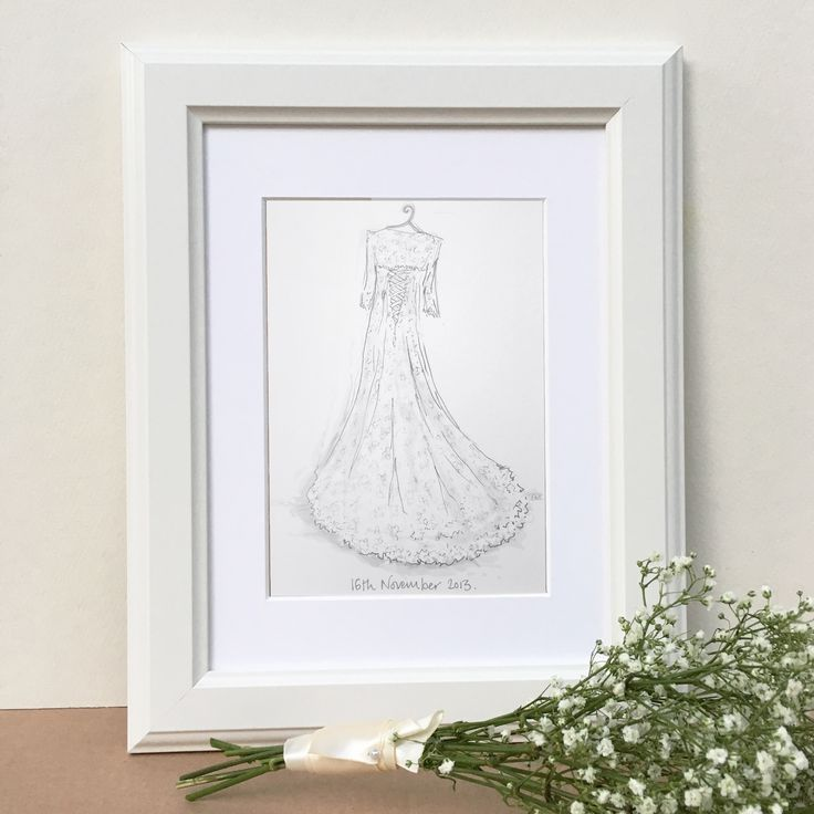 Wedding+Dress+Hand-Drawn+Illustration, £53.00