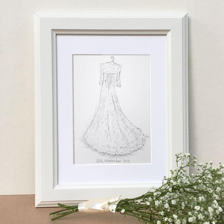 Wedding+Dress+Hand-Drawn+Illustration, £53.00