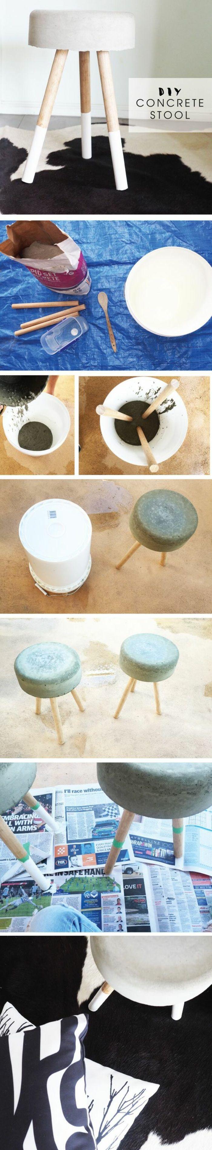 basteln mit beton und holz   diy hocker, weißer eimer, holzlöffel
