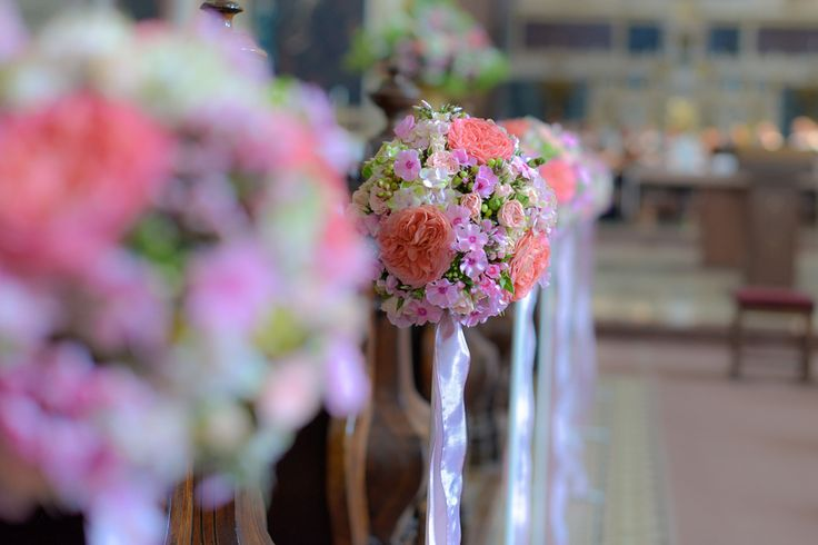colorful wedding decoration at the church