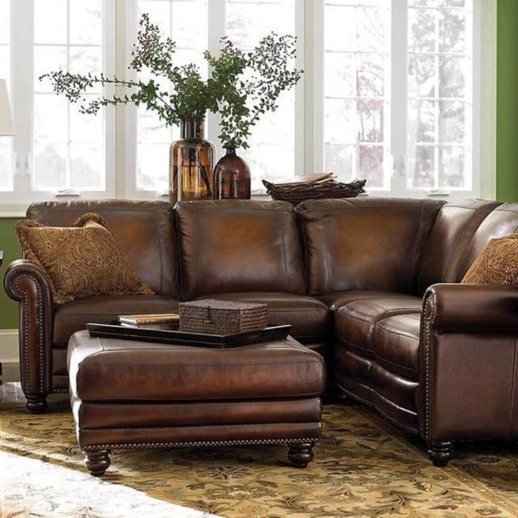 Lovely Classical Brown Genuine Leather Corner Sofa And Ottoman Coffee Table On  Brown Floral Carpet As Well