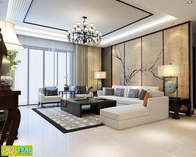 [简中式客厅效果图 客厅吊顶和沙发背景墙...