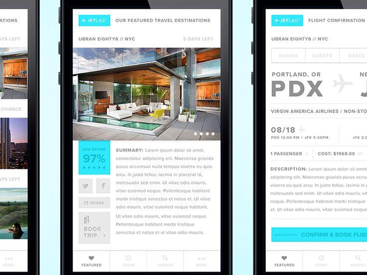 JetLag - Travel App Concept - App Screens by Corey Michaud
