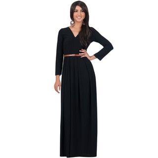 KOH KOH Women's V-Neck Long Sleeve Elegant Cocktail Evening Formal Maxi Dress | Overstock.com Shopping - The Best Deals on Evening & Formal Dresses