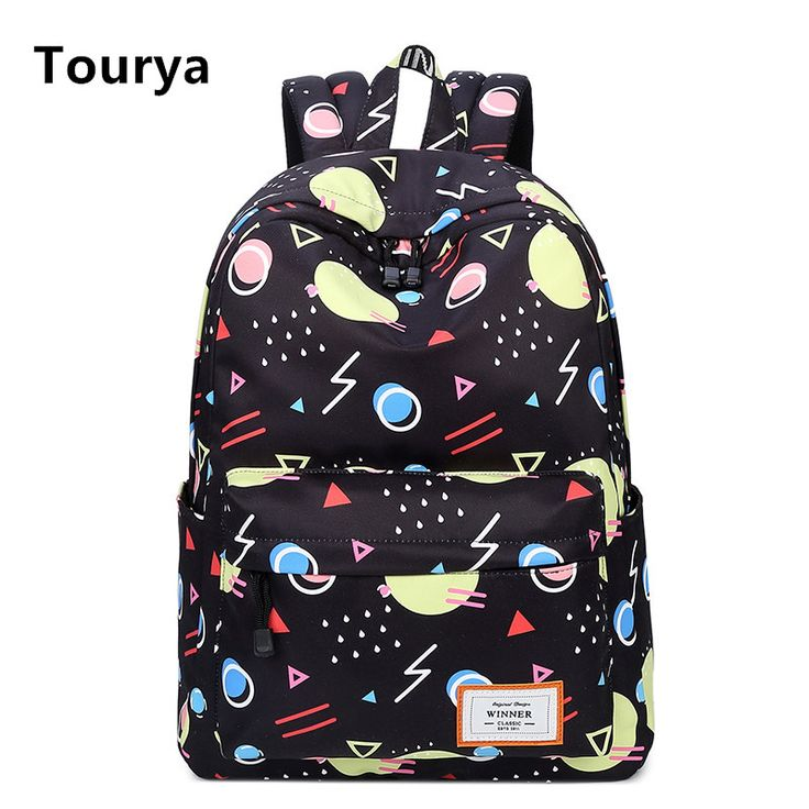 Tourya Fashion Backpack Geometric Printing Women Backpacks School Bags  Bookbag for Teenagers Girls Laptop Backbag Travel 635e0db701af7