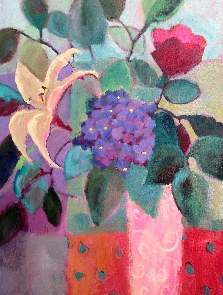 """Yellow Lily/Purple Hydrangeas"" by Annie O'Brien Gonzales"