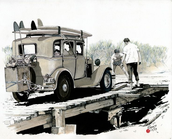 """Surfing in the 60s. Pen and Wash artwork showing two young surfies trying to unhitch their old """"Surfmobile"""". Framed: $1450"""