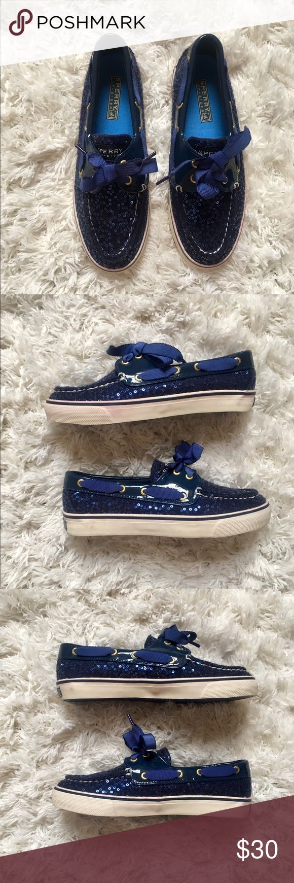 Sperry Bahama Boat Shoe in Navy Sequins, Size 6 ✖️ Sperry Top-Sider Bahama Boat Shoe / Sneaker                              ✖️ Navy / Sequins                                                                         ✖️ Size 6                                                                                                                                                               ✖️ Never been worn, but no tags because they were purchased at a sample sale. Great condition. Bahamas can run…