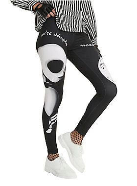 """These black leggings and your favorite tunic are simply meant to be! They've got a black and white Jack and Sally print.<br><ul><li style=""""list-style-position: inside !important; list-style-type: disc !important;"""">95% cotton; 5% spandex</li><li style=""""list-style-position: inside !important; list-style-type: disc !important;"""">Wash cold; dry low</li><li style=""""list-style-position: inside !impo..."""