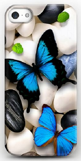 Art Design Silicone Case (TPU) for Apple iPhone 5/5S - Stones with butterflys by Nina