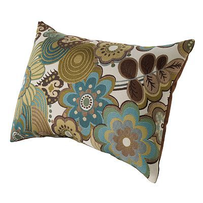 Sage green, blue and brown pillow (color scheme for living room) - this sort of thing may work with my living room colors!