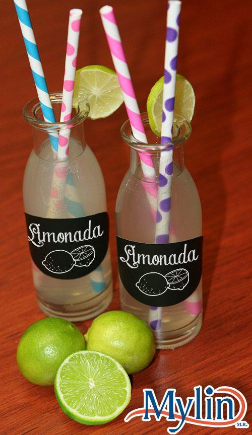 Frascos de vidrio para limonadas / Recuerdos para fiestas / limón / Verde / Etiquetas Negras de Pizarrón
