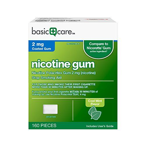 Basic Care Nicotine Gum 2 Stop Smoking Aid, Cool Mint, 160 Count  Compare to Nicorette Gum active ingredient  Stop Smoking Aid  For those who smoke their first cigarette more than 30 minutes after waking up  Reduces withdrawal symptoms, including nicotine craving, associated with quitting smoking  Cool Mint - Coated for extreme flavor