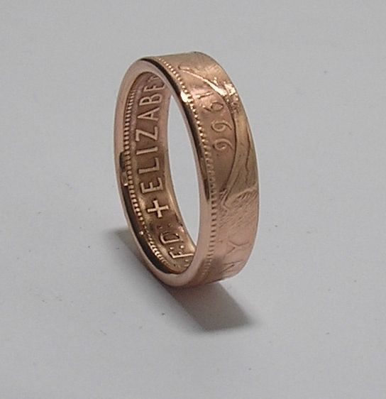 VINTAGE 1966 ONE PENNY COIN RING - by mayarings1111 for sale on Folksy