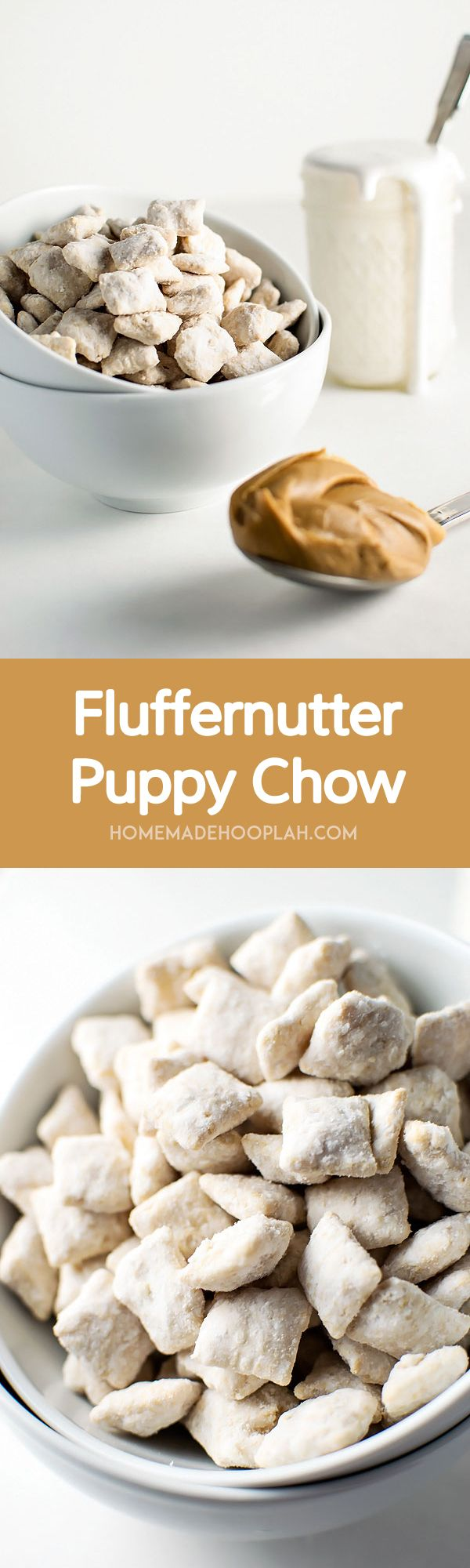 Fluffernutter Puppy Chow! The delicious taste of fluffernutter (peanut butter + marshmallow) wrapped around crunchy Chex cereal. It's the perfect snack food in just 15 minutes!   HomemadeHooplah.com