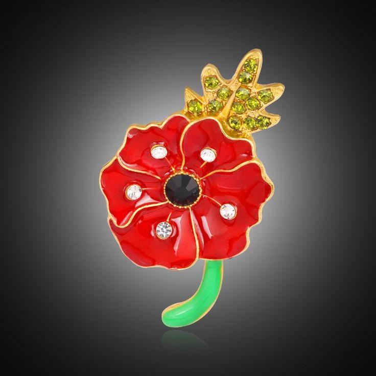 Дешевые красный мак брошь возлагает цветы мода позолоченные великобритании кристалл горного хрусталя эмаль броши для женщин рождество