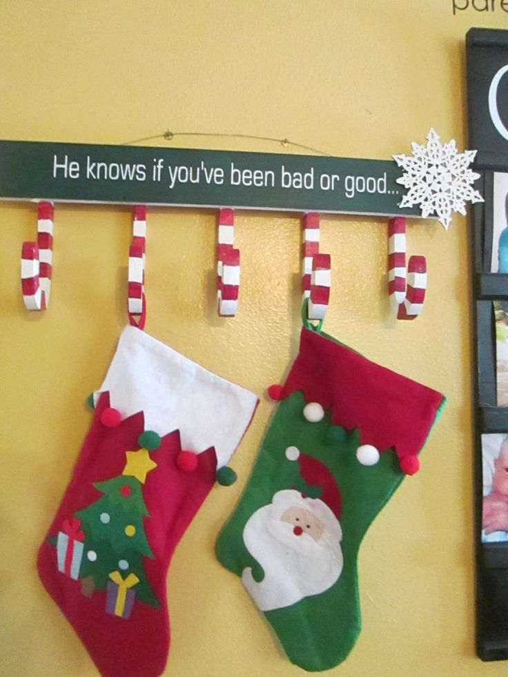 "Christmas Stocking Hanger --- I like the wording on this one ""He knows if you've been bad or good"""