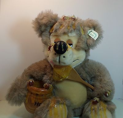 ORZCK Brown Teddy Bear Plush Stuffed Animal Eating Honey Collectible Gift