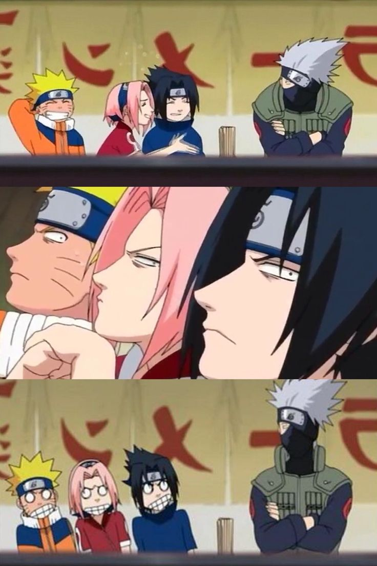 Team 7 trying to see what's under Kakashi's mask.