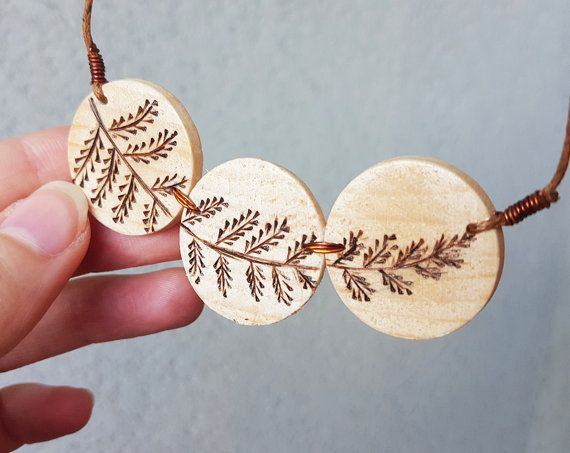 Wood burned necklace Pyrography minimalist wood slice wood eco-friendly pendant Waxed cotton cord adjustable floral necklace