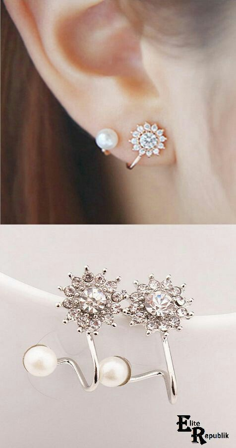 Luxury Style Gold/Silver Crystal Rhinestone Pearl Flower Stud Earrings - Shops Hive