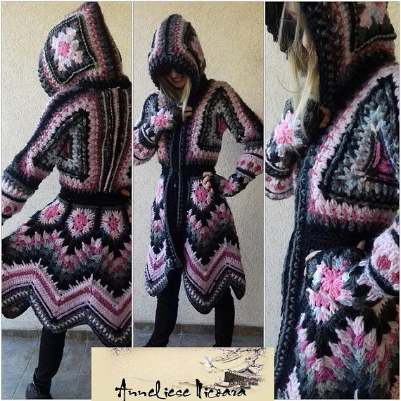 Customer order-Crochet Coat /Hooded Crochet Coat , Wool Cardigan/Bohemian Coat Warm and cozy /Original design