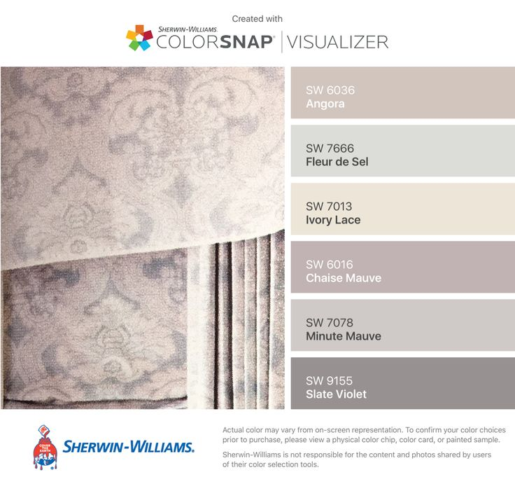 I found these colors with ColorSnap® Visualizer for iPhone by Sherwin-Williams: Angora (SW 6036), Fleur de Sel (SW 7666), Ivory Lace (SW 7013), Chaise Mauve (SW 6016), Minute Mauve (SW 7078), Slate Violet (SW 9155).