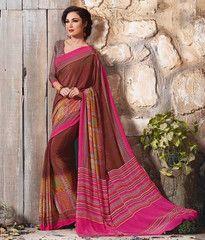 Brown & Pink Color Crepe Casual Function Sarees : Karnika Collection  YF-40721