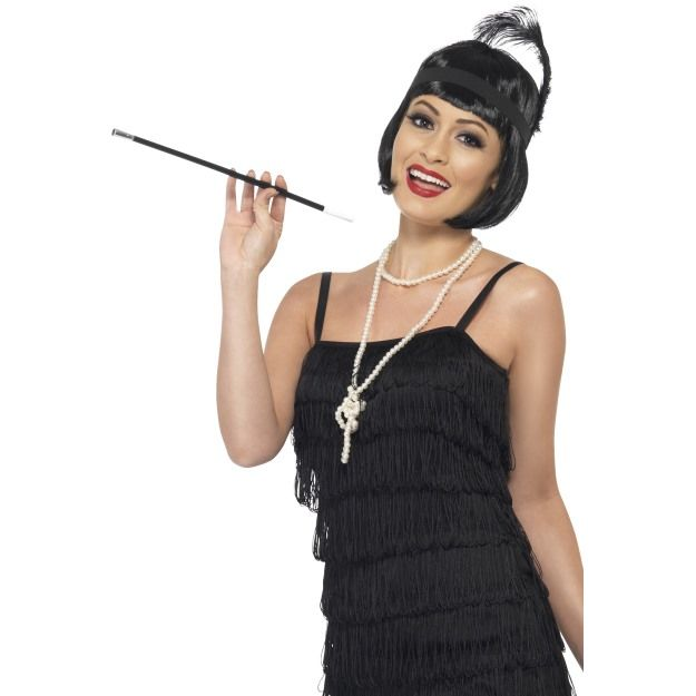 Flapper Instant Kit, With Wig, Necklace, Headpiece and Cigarette Holder
