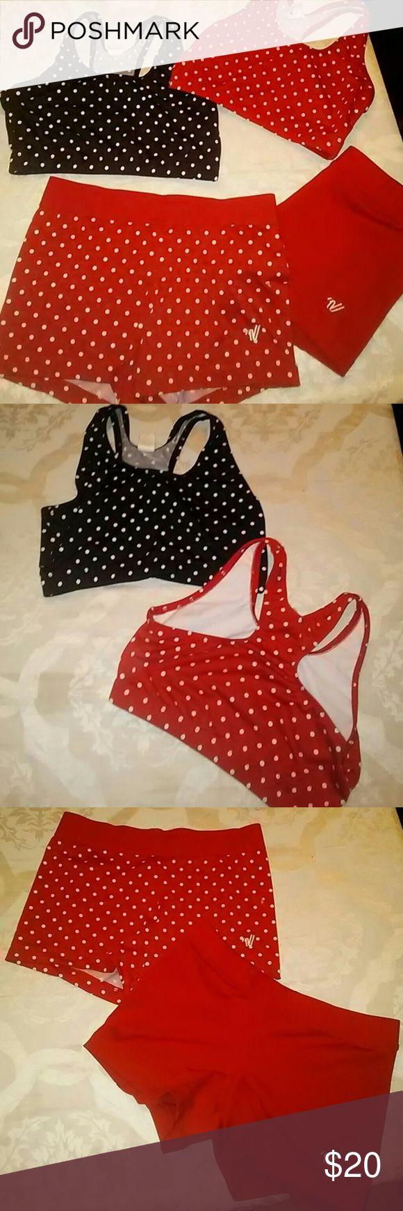 Workout attire 2 sports bras red and black polka dot and spandex bottoms all size medium Varsity brand varsity Other