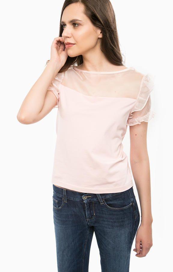 Укороченная футболка с шелковой нашивкой I67032J5283 41506 , купить в интернет-магазине. Цена: 10999
