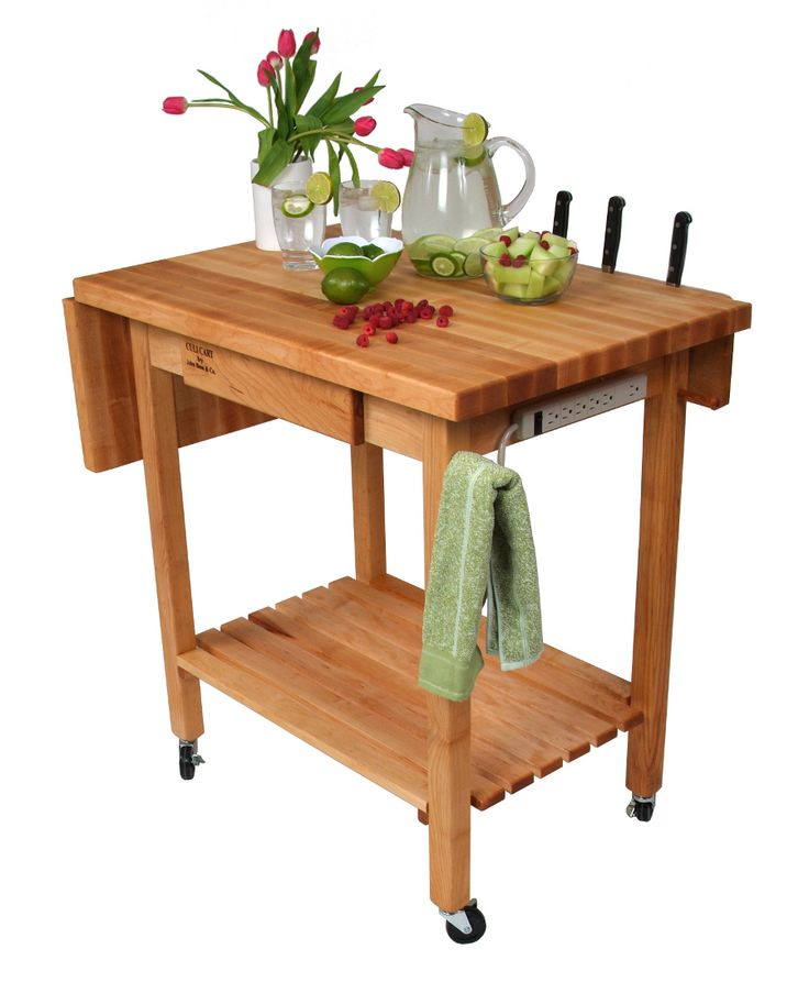 Boos Deluxe Culinary Cart Drop Leaf Knife Holder Drawer Power Strip At Serving Cartbutcher Blocksbutcher