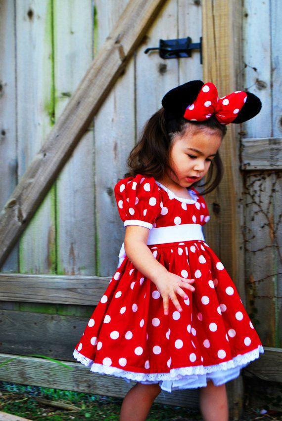 Minnie Mouse Dress Empire Waist Size 2T12 by PlayfulPrincesses, $95.00