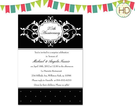 10 best anniversary party invitation images on pinterest anniversary party invitation dinner party invitation adult birthday invitation black and white damask stopboris Choice Image