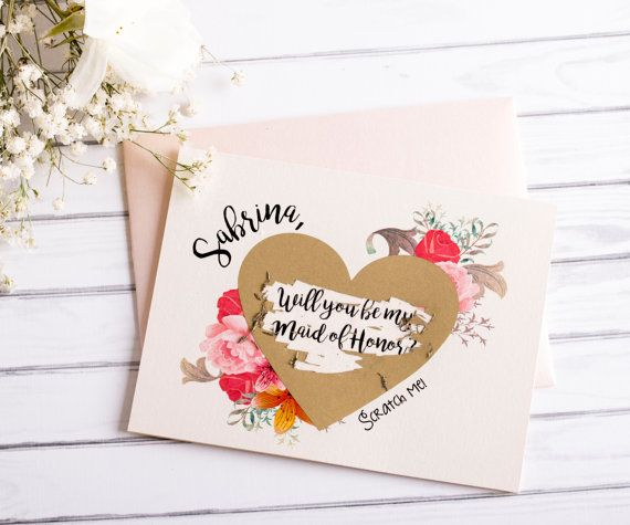 Bridesmaid Card Scratch Off Floral Will You Be My by XOXOKristen