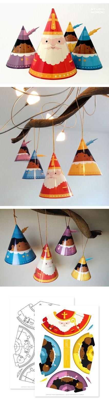 Maak je eigen Papertoy Sinterklaasversiering.