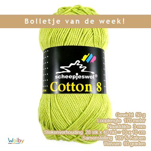 Scheepjes cotton 8 is een 100% katoenen draad, hierdoor is het een fijn slijtvast garen dat geschikt is om mee te haken en te breien. Het garen is zeer geschikt om dekens, amigurimi, tasjes en kleding mee te maken. Het heeft een matte, natuurlijke uitstraling. Het is te vergelijken met Larra. Voor het haken van amigurimi en knuffels raden wij naalddikte 2,5 mm aan. Voor dekens en kleding een naalddikte van 3 mm. Met zoveel verschillende kleuren zit er altijd een mooie kleur tussen.