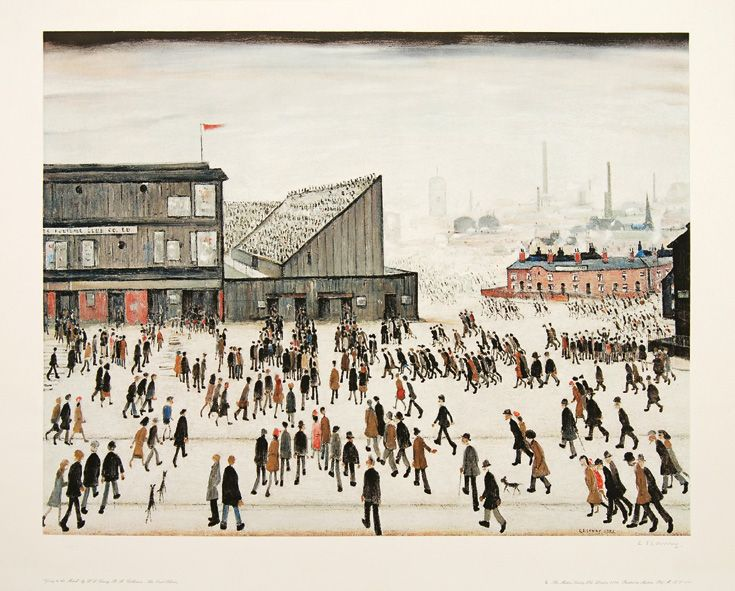 LOWRY L. S. - Going to the Match - Edition of 300. Signed in pencil lower right by Lowry. Fine Art Trade Guild blindstamp lower left. Reproduced from an original 1953 oil painting of football fans converging on Bolton Wanderers's old football stadium, Burnden Park. Originally titled Football Ground, the painting won first prize in a competition organized by the Football Association. Lowry was very surprised when he heard about it as he did not know the picture had been entered.